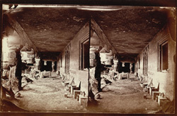 Interior view from the right of the verandah of Buddhist vihara, Cave XXIV, Ajanta